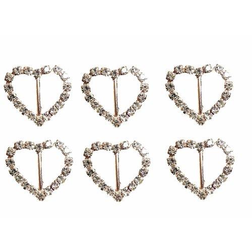 10 x Rose Gold Heart Diamante Rhinestone Ribbon Buckle Slider With Vertical Bar