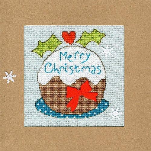 Bothy Threads Cross Stitch Kit - Christmas cards :   Snowy Pudding  XMAS16