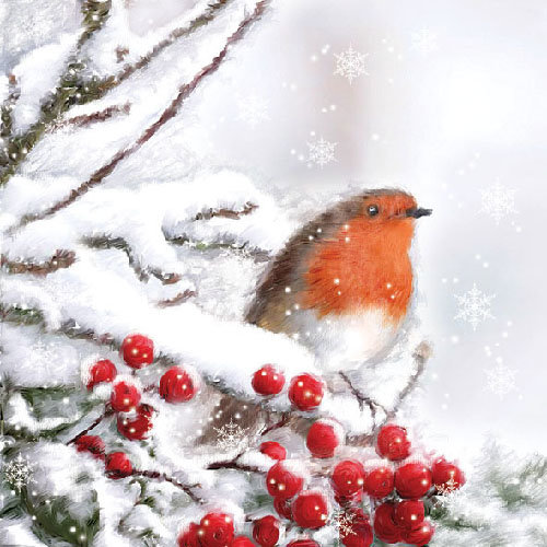 Ambiente Robin in the Snow Napkins