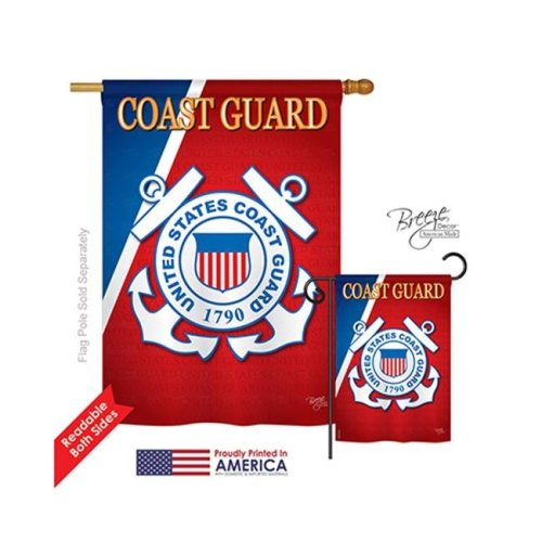 Breeze Decor 08056 Military Coast Guard 2-Sided Vertical Impression House Flag - 28 x 40 in.