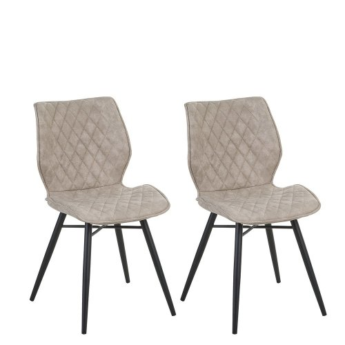 Set of 2 Fabric Dining Chairs Beige LISLE