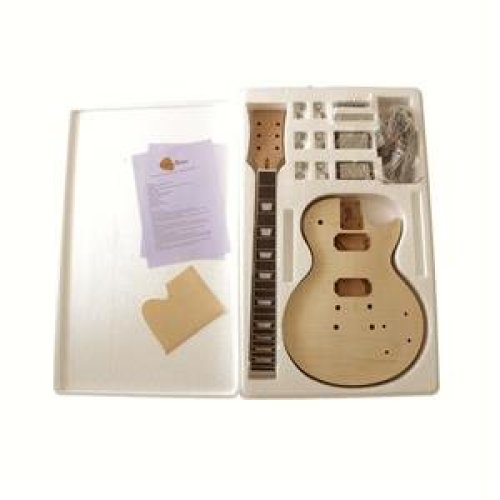 Flamed Maple Veneer (Arched top) DIY electric guitar kit, 7WMLPFMB No Soldering Required