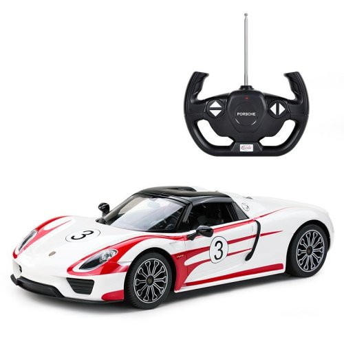 Licensed 1:14 Porsche 918 Spyder Weissach Remote Control Car White Working Headlights and Tailgates Ages 6 Years+ RideonToys4u