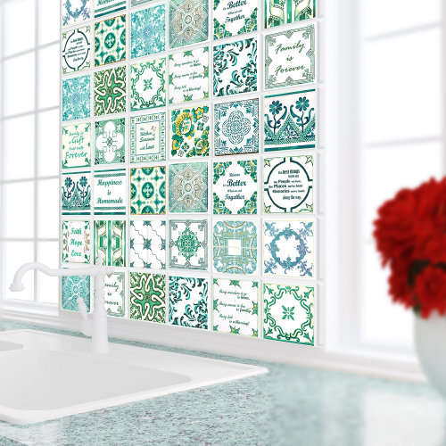 Walplus Tile Sticker with French Quote Green Wall Sticker Decal (Size: 10cm x 10cm @ 24pcs)