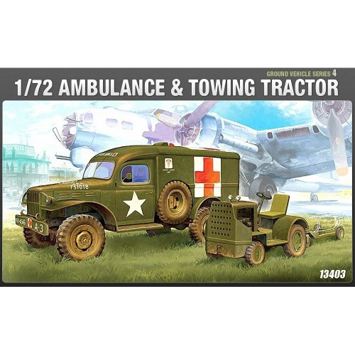 Aca13403 - Academy 1:72 - Wwii Us Ambulance & Towing Tractor