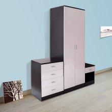 Homcom High Gloss Bedroom Furniture Set Wardrobe Chest Bedside