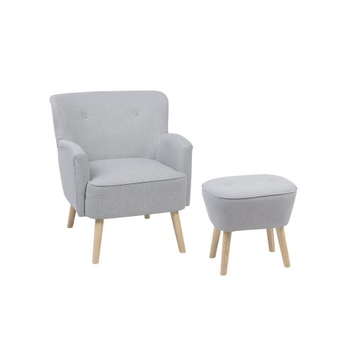Fabric Armchair with Footstool Light Grey TUMBA
