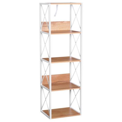 HOMCOM 5-Tier Multi-Use Shelf Freestanding Rack Organizer Display Bookcase Home Storage Utility Stand Multifunctional Holder