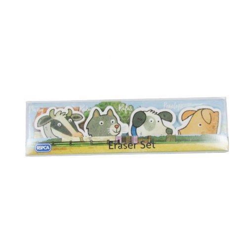"Eraser set ""Buttercup Farm Freinds"" animal eraser set,"