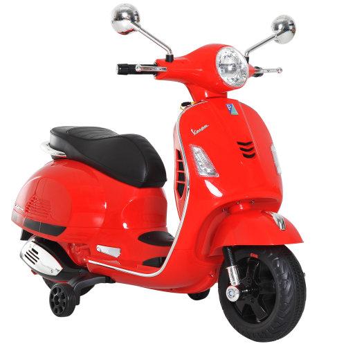 HOMCOM 6V Kids Ride On Licensed Vespa Motorcycle Boys Girls MP3 Music LED Toy Red