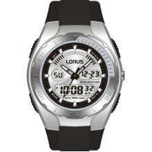 Lorus Men's Alarm Chrono EL Dual Time Watch 100 Mtr WR Black Pu Strap R2389GX9
