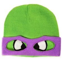 Teenage Mutant Ninja TURTLE Donnie Face and Mask Cuffless Beanie - Green/Purple