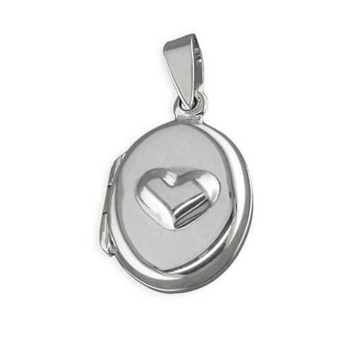 Childrens Sterling Silver Raised Heart Oval Locket On A Curb Necklace