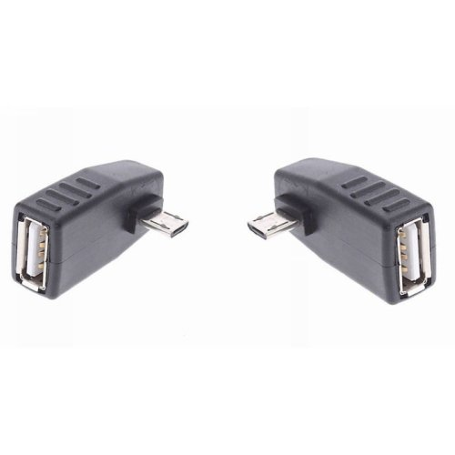 Pair Left + Right 90d Angled Micro USB B Male to USB a Female Host OTG Adapters