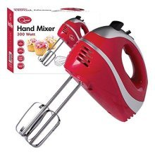 5 Speed 300w Hand Held Food Electric Whisk Mixer Blender Beater Dough Hooks - Red