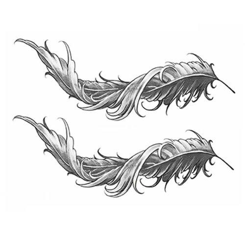 2 Sheets Black Feather Simulation Tattoos Waterproof Abdomen Temporary Tattoos Women Makeup Art Stickers Tattoo Sticker