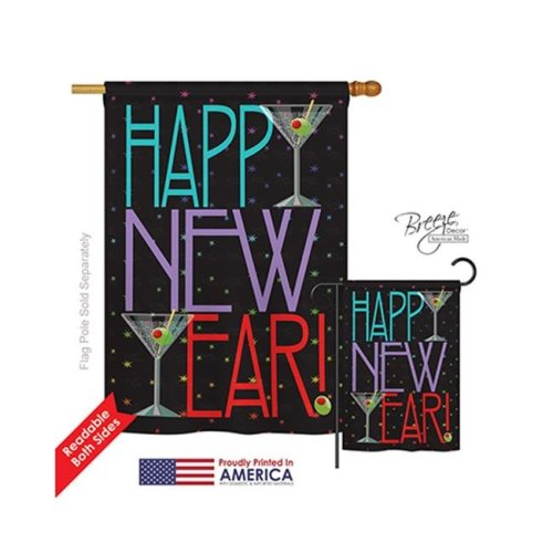 Breeze Decor 16009 New Year New Year Martini 2-Sided Vertical Impression House Flag - 28 x 40 in.