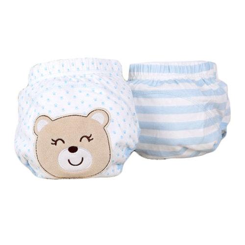 Lovely Blue Bear Baby Elastic Cloth Diaper Cover (M, 9-11KG)