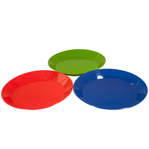 25cm Summit Pp Plate - 3 Assorted Colours. -  camping dinner cutlery set 1 person plastic plate bowl mug fork dining