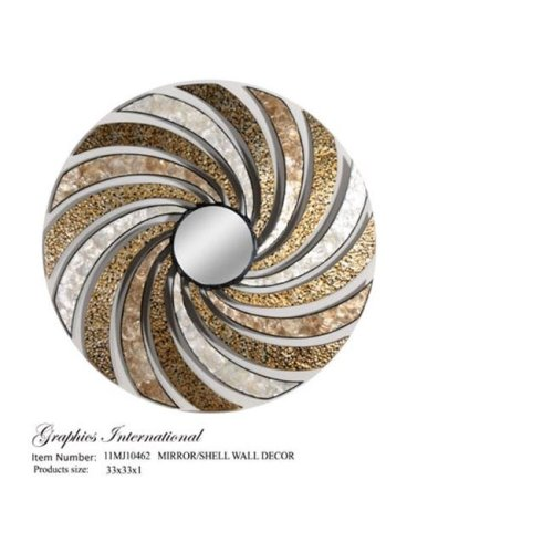 Graphics International 11MJ10462 Metal Wall Decor with Sea Shell and Mirror