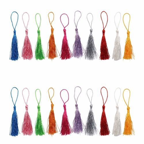 Dreamtop 100pcs 13cm/5 Inch Silky Handmade Soft Craft Mini Tassels with Loops for Jewelry Making DIY Projects Bookmarks, 10Colors