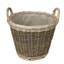 Small Unpeeled Hessian Lined Wicker Log Basket