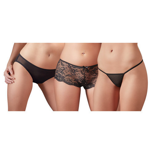 Panty Set of 3 XL Ladies Lingerie Thongs - Cottelli Collection