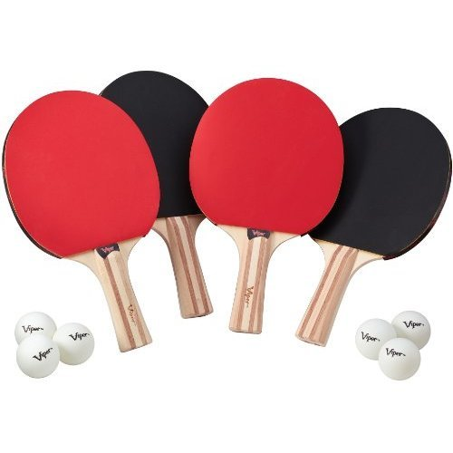Viper Table Tennis Accessory Set 4 Rackets Paddles and 6 Balls
