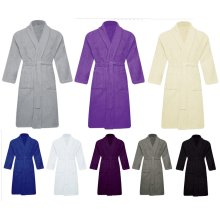 Men Women Unisex Egyptian Cotton Bathrobe Shawl Collar Terry Towel Dressing Gown