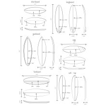 wall mural technical drawings of surfboards white - 158848