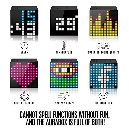 Divoom Aurabox Bluetooth 4 0 Smart LED Speaker with APP Control for Pixel Art Creation Black