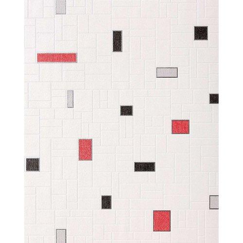 EDEM 584-26 vinyl wallpaper mosaic tile decor white black grey red | 5.33 sqm