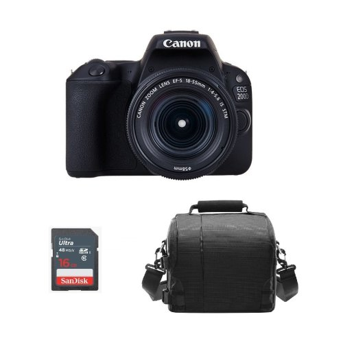 CANON 200D Black KIT EF-S 18-55mm F4-5.6 IS STM + Bag + 16GB SDcard