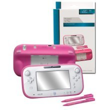 Silicon Jacket and 2 x Large Stylus Pens Pink for Nintendo Wii U Gamepad