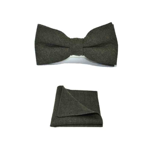 Highland Weave Forest Green Men's Bow Tie & Pocket Square Set