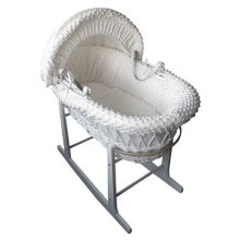 Mother Nurture Full Set White Wicker Moses Basket with Quilted Mattress (Cream and White Rocking Stand)