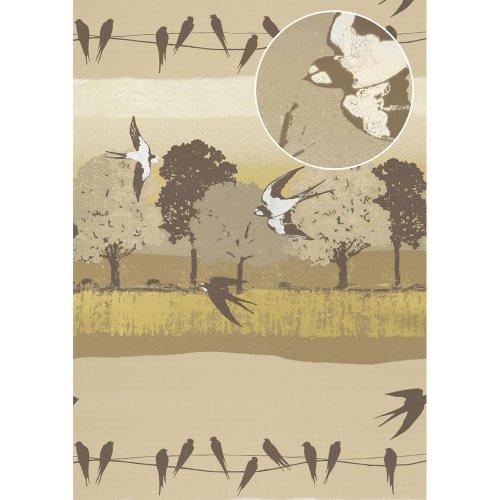 Atlas SIG-583-3 Birds wallpaper metallic highlights grey-brown ivory 5.33sqm