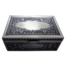 Pewter Metal Rectangular Trinket Jewellery Chest with Intricate Floral Decor by Happy Homewares