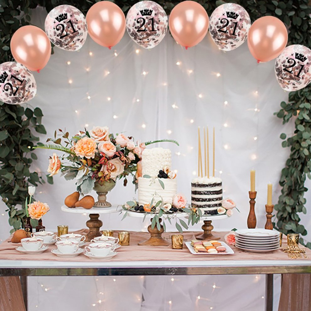 16 Pcs 21st Birthday Party Rose Gold BalloonConfetti Balloons Latex Balloon Printed With Happy