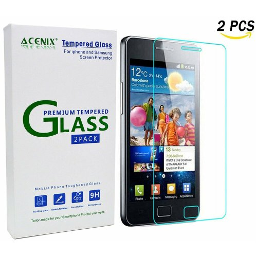 ACENIX® Samsung Galaxy S2 i9100 Tempered Glass Clear LCD Screen Protector