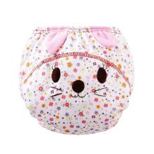 2 PCS Breathable Cotton Baby Diapers (Flower and Cat Style, M)