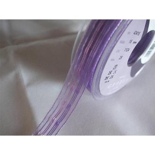 2m of Berisfords Purple Stripe Ribbon - 15mm wide