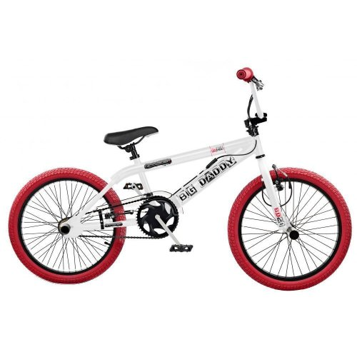 """Rooster Big Daddy Kids Freestyle BMX Bike 20"""" Wheels Gyro White Red RS124"""
