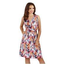 Martildo Fashion, Ladies Knee Length Floral Print Crossover Dress, Pink, Medium (UK 12-14)