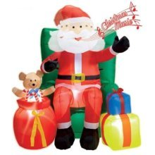 Light-up Inflatable Santa Claus Seated On Sofa With Presents - Lightup -  lightup inflatable santa claus seated sofa presents christmas party