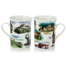 Scotland Scenes Landmarks Mug Ceramic Edinburgh Castle Balmoral Loch Ness Piper