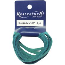 "Realeather Crafts Deerskin Lace .1875""X2yd Packaged-Turquoise"