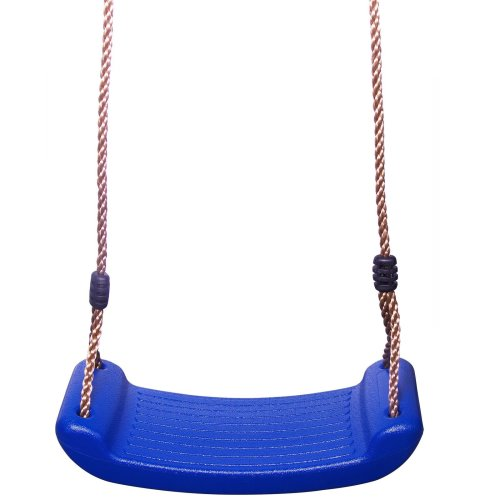 Childrens Blue Plastic Rope Swing Seat Hanging Outdoor Garden Mounting Bench