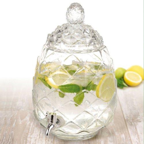 6L Pineapple Beverage Dispenser Glass Jar Tap Juice Drinks Cocktails