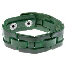 Aged Green 'Forest' Leather Men's Cuff Bracelet by Urban Male